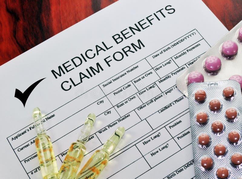 Formulário de reivindicação médico 2 dos benefícios imagens de stock royalty free