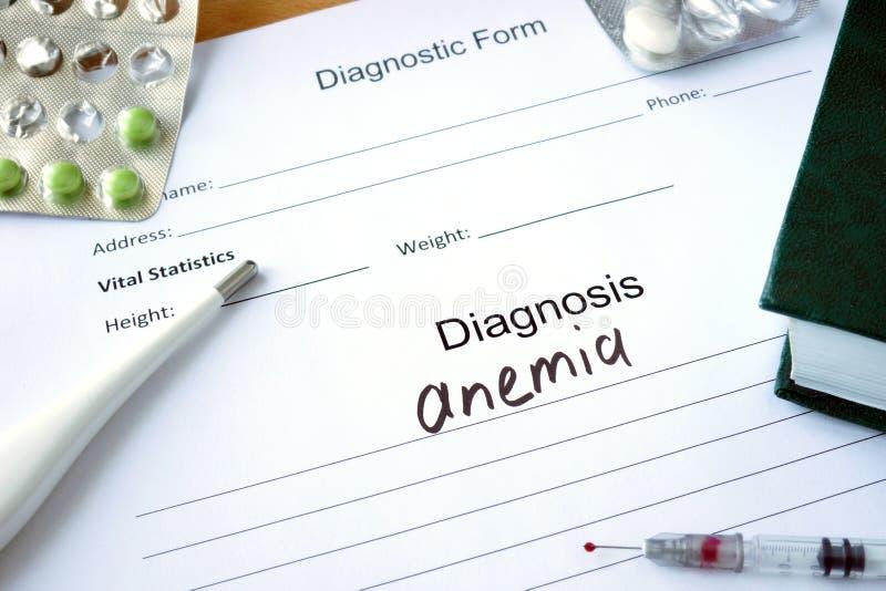Formulário diagnóstico com anemia do diagnóstico foto de stock