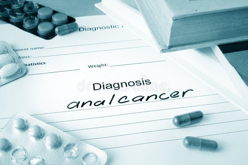 Formulário diagnóstico com câncer anal do diagnóstico imagens de stock