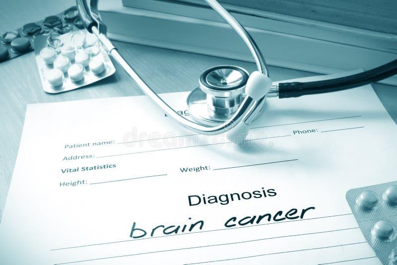 Formulário diagnóstico com câncer cerebral do diagnóstico foto de stock