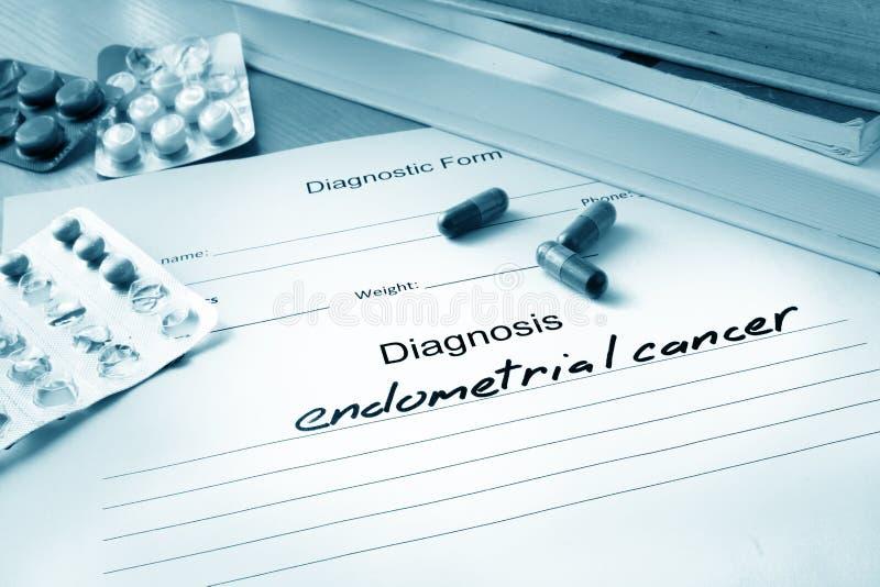 Formulário diagnóstico com câncer endometrial do diagnóstico foto de stock