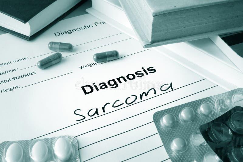 Formulário diagnóstico com sarcoma do diagnóstico imagens de stock