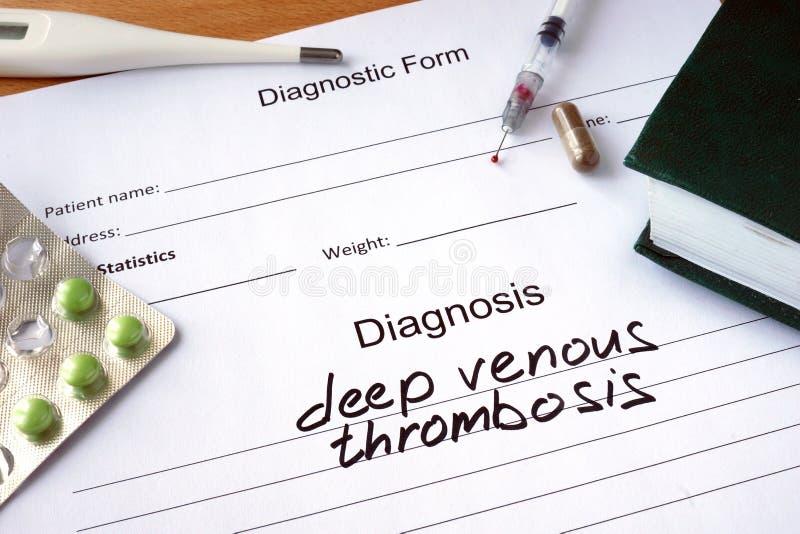 Formulário diagnóstico com trombose venosa profunda do diagnóstico imagem de stock royalty free