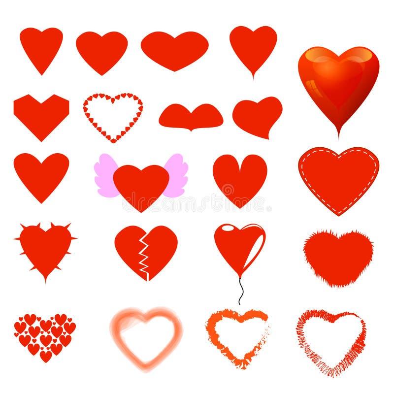 Formulário do coração e grupo diferentes do estilo fotografia de stock royalty free