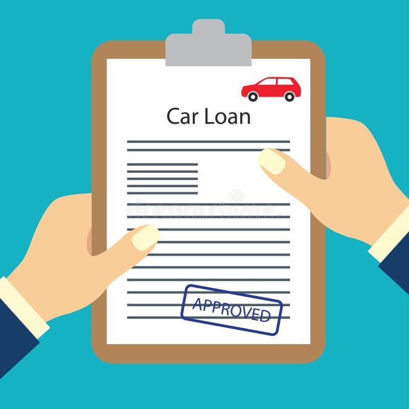 Formulário do empréstimo automóvel aprovado para o conceito do pedido de empréstimo ilustração royalty free