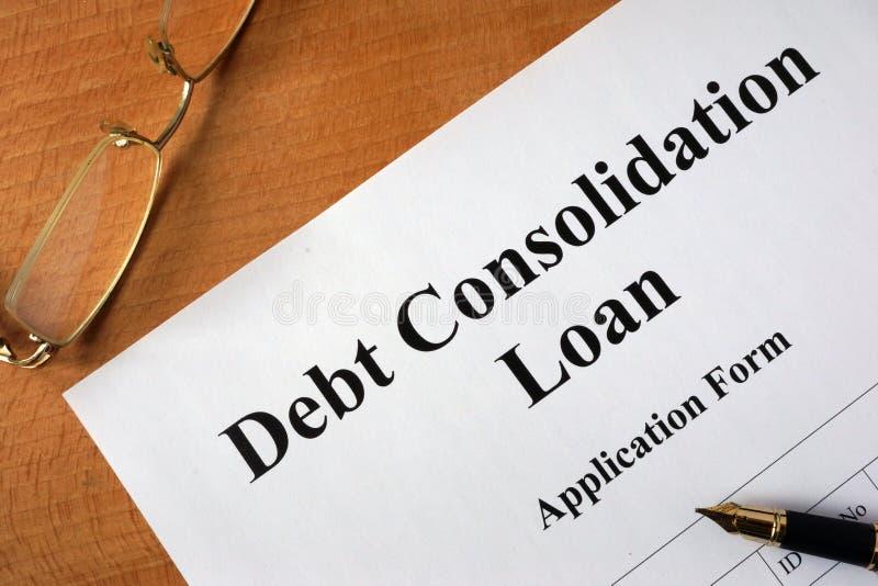 Formulário do empréstimo de consolidação do débito imagens de stock royalty free