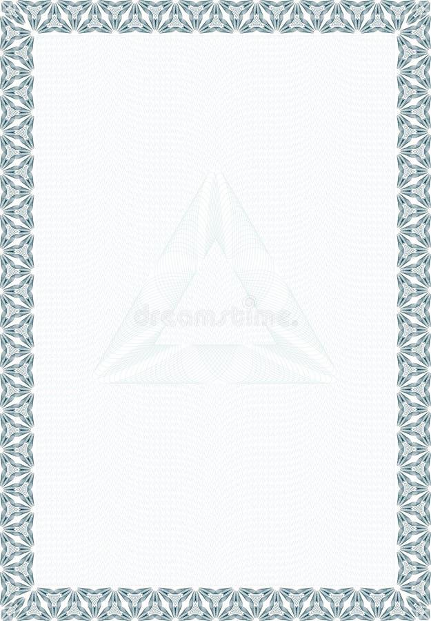 Formulário do estilo do Guilloche para o diploma ou o certificado ilustração stock