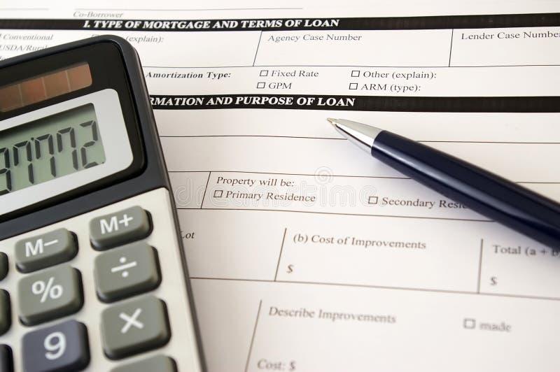 Formulário do pedido do empréstimo fotografia de stock