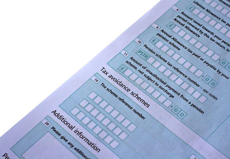 Formulário do retorno BRITÂNICO de imposto imagem de stock royalty free