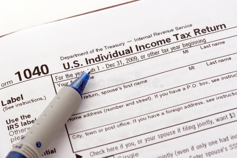 Formulário do retorno de imposto dos E.U. fotografia de stock