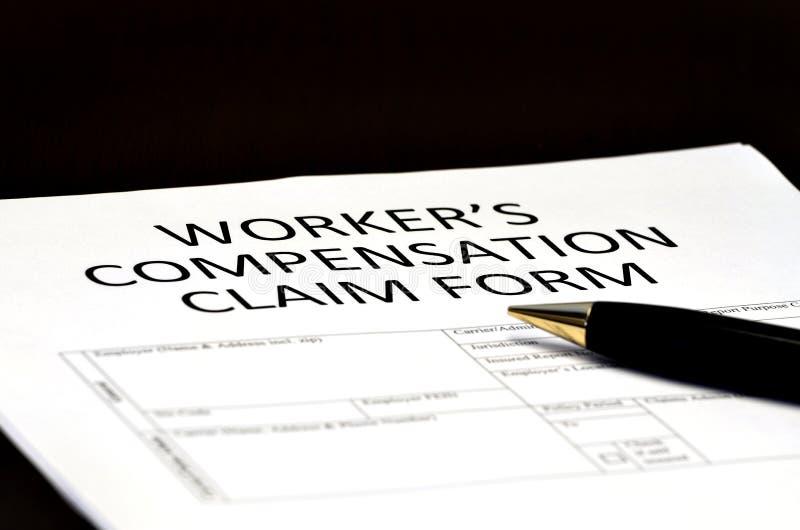 Formulário dos comp(s) da compensação do trabalhador para reivindicações imagens de stock royalty free