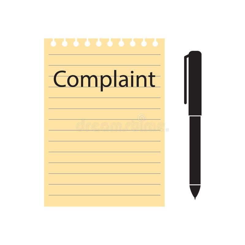 Formulário e pena da queixa ilustração stock