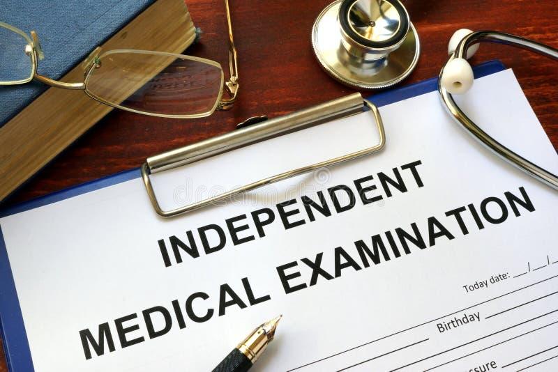 Formulário independente do exame médico IME fotos de stock