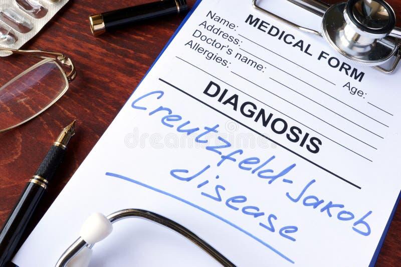 Formulário médico com doença de Creutzfeldt-Jakob do diagnóstico foto de stock royalty free