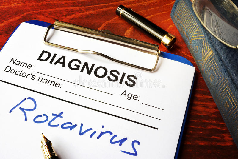 Formulário médico com Rotavirus do diagnóstico imagem de stock