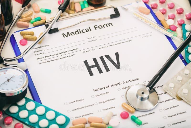 Formulário médico, hiv do diagnóstico imagem de stock royalty free