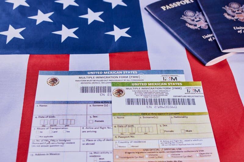 Formulário múltiplo da imigração foto de stock