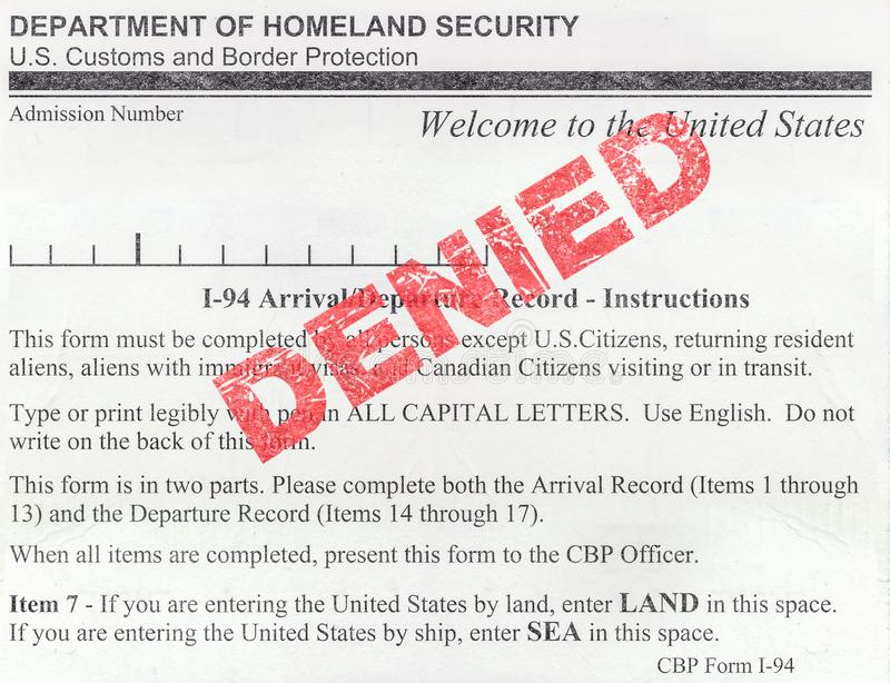 Formulário negado da imigração dos E.U. imagens de stock royalty free