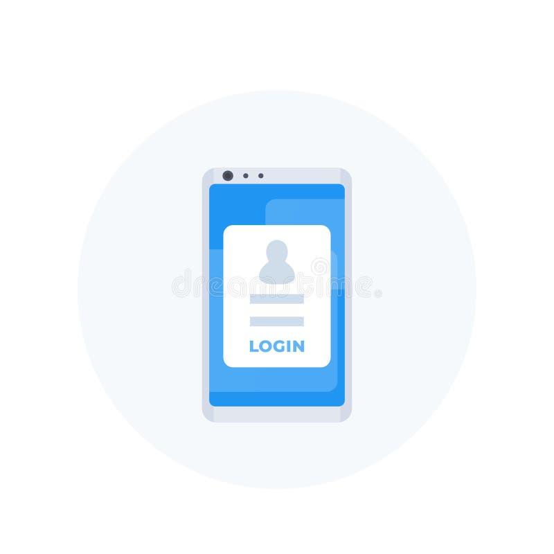 Formulário no smartphone, autenticação móvel do início de uma sessão ilustração royalty free