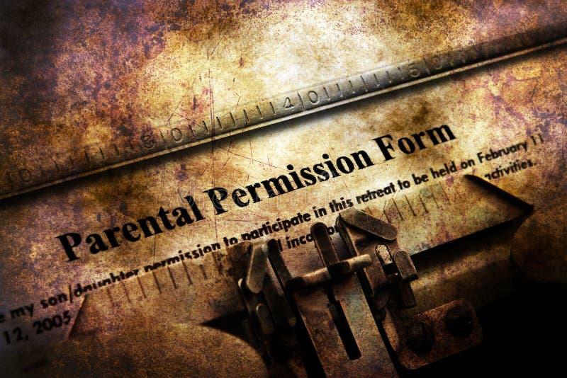 Formulário parental da permissão na máquina de escrever do vintage fotos de stock royalty free