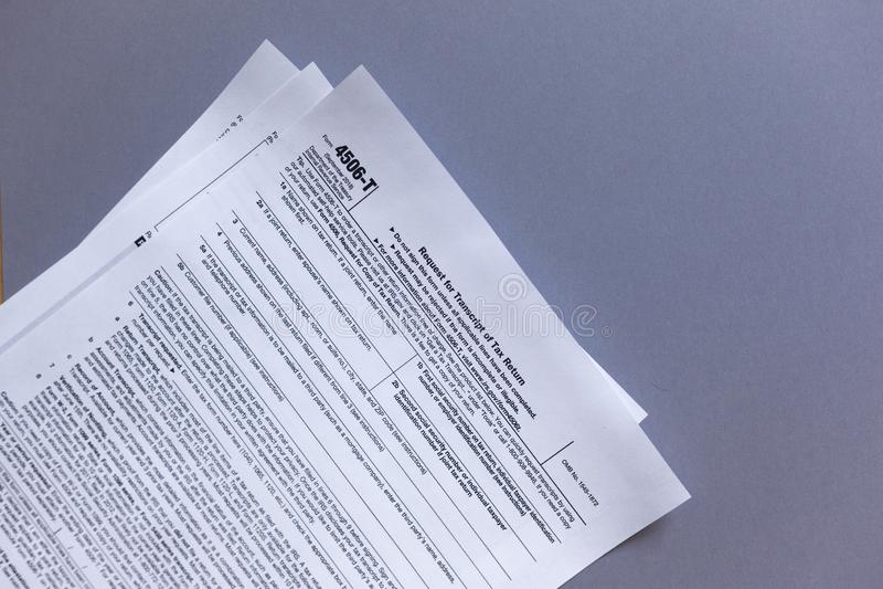 Formulário 4506-T do IRS Pedido para o transcrito do imposto fotos de stock royalty free