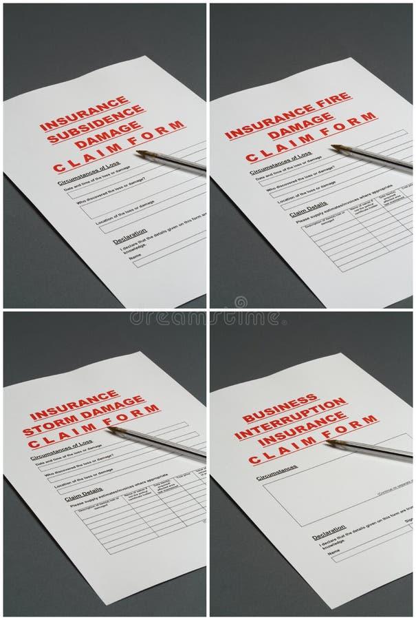 Formulários de reivindicação do seguro imagens de stock