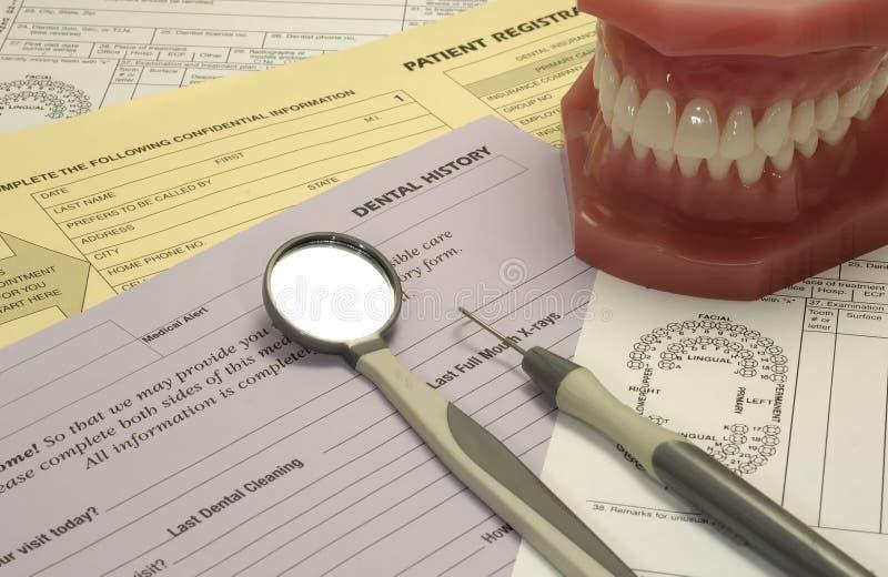 Formulários dentais fotografia de stock