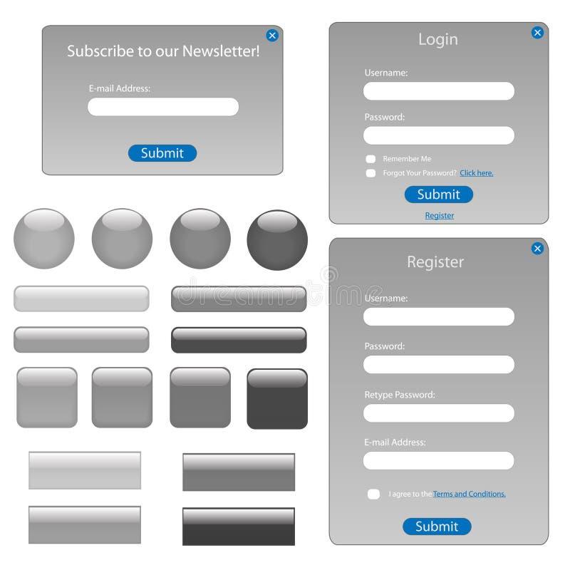 Formulários e teclas cinzentos do Web ilustração royalty free