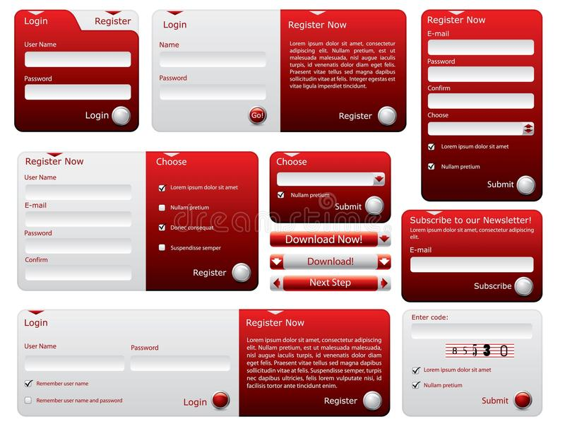 Formulários vermelhos e de prata do Web