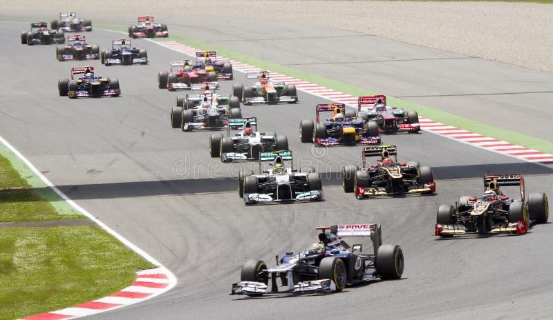 Formula 1 cars racing stock image
