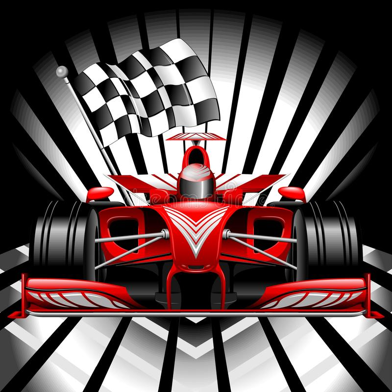 Free Formula 1 Red Race Car With Checkered Flag On Black Background Vector Illustration Stock Photo - 138220110