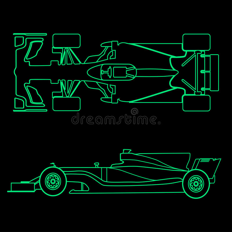 Formula car, linear light silhouette of a racing car isolated on black background. Top view and side view. Vector stock illustration