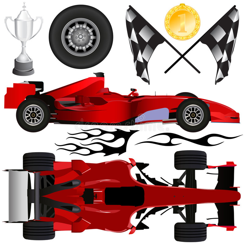 Formula car and objects vector royalty free illustration