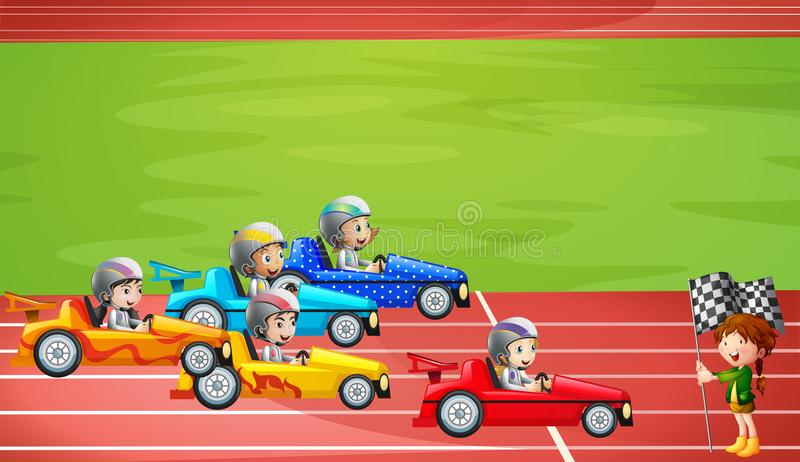 Formula 1 che corre nello stadio royalty illustrazione gratis