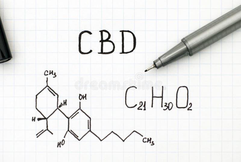 Formula chimica di Cannabidiol CBD con la penna nera fotografie stock