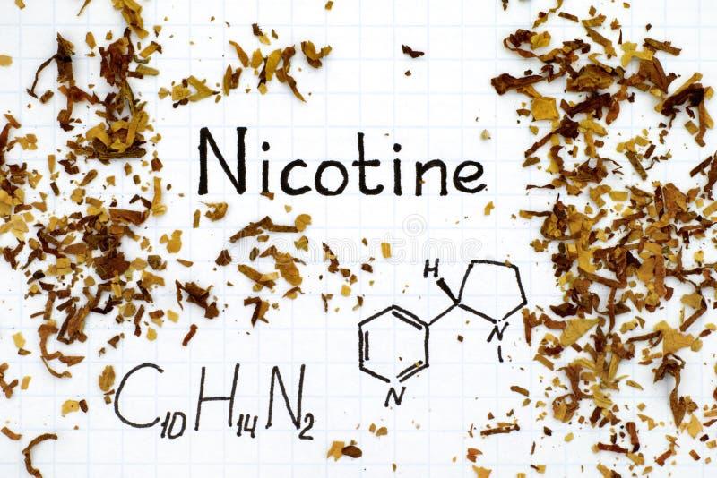Formula chimica di nicotina con tabacco rovesciato fotografie stock libere da diritti