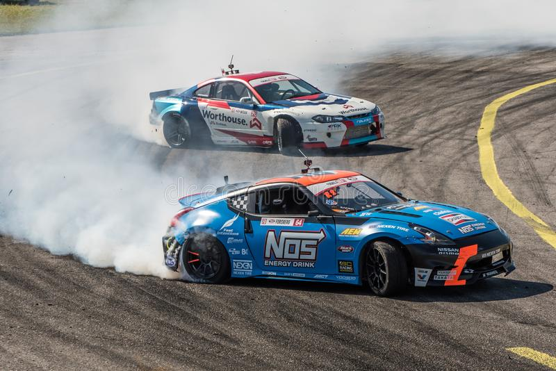 Formula Drift Orlando. Orlando, Florida – April 28, 2018: Drivers compete in Round 2 of Formula Drift in Orlando, Florida, on April 28, 2018 stock photography