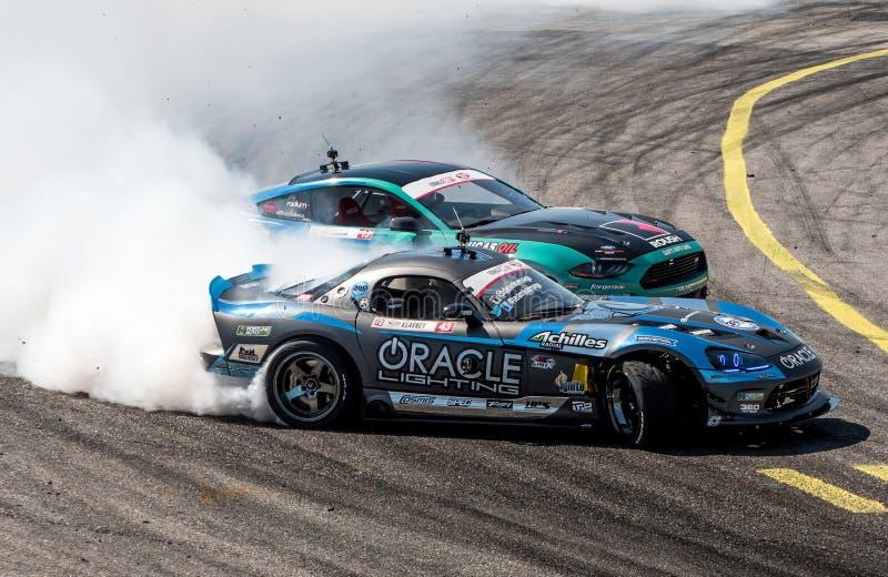Formula Drift Orlando. Orlando, Florida – April 28, 2018: Drivers compete in Round 2 of Formula Drift in Orlando, Florida, on April 28, 2018 royalty free stock photos