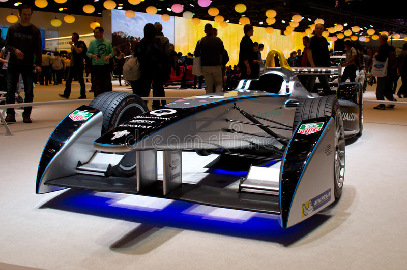 Formula E Geneva 2014. Geneva, 84th Salon de lAuto 2014 Renault presents officially at the autoexpo the single seater that FIA is promoting to start in fall 2014 royalty free stock images