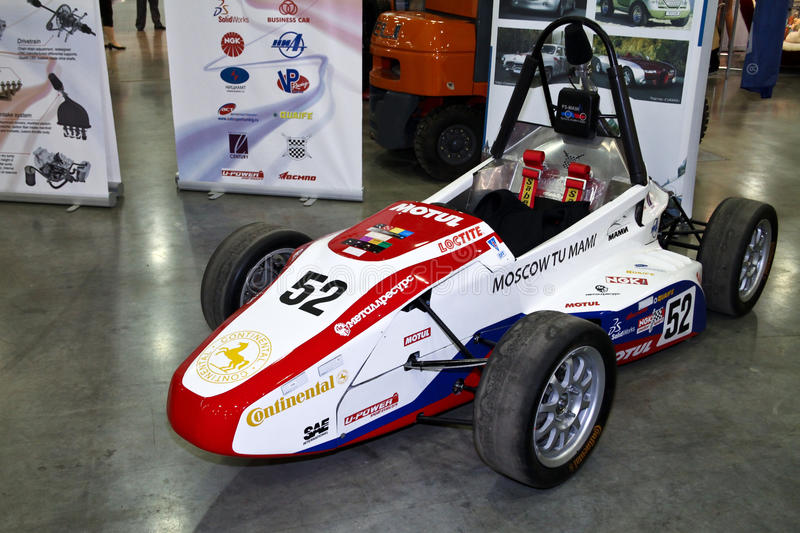 Formula Hybrid engineered by students auto. MOSCOW - AUGUST 25: Formula Hybrid engineered by students auto at the international exhibition of the auto and stock image