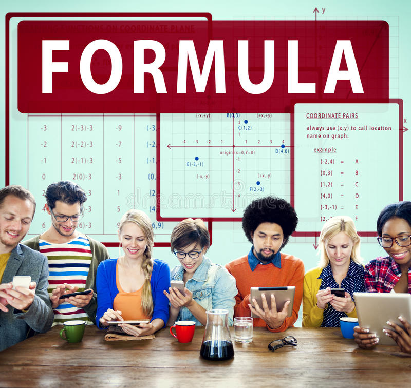 Formula Mathematics Calculation Chart Concept. People Formula Mathematics Calculation Chart Concept stock photos