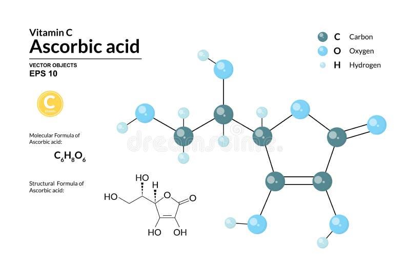 Formula molecolare e modello chimici strutturali di acido ascorbico Gli atomi sono rappresentati come sfere con la codifica media illustrazione di stock
