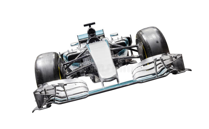 Formula One car. Front shot of a formula one car, isolated on white with detailed clipping path included royalty free stock photo