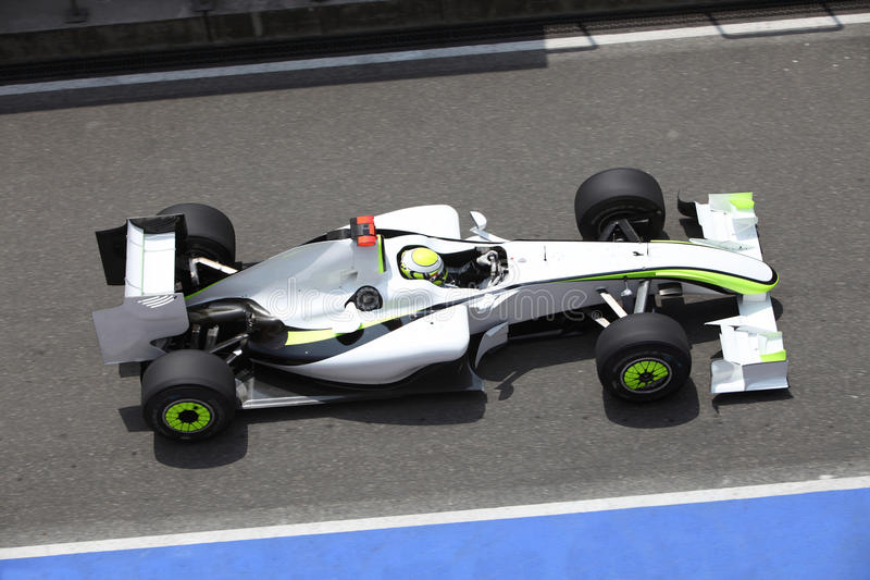 Formula One Car in racing. Formula one sport car is in action royalty free stock photo