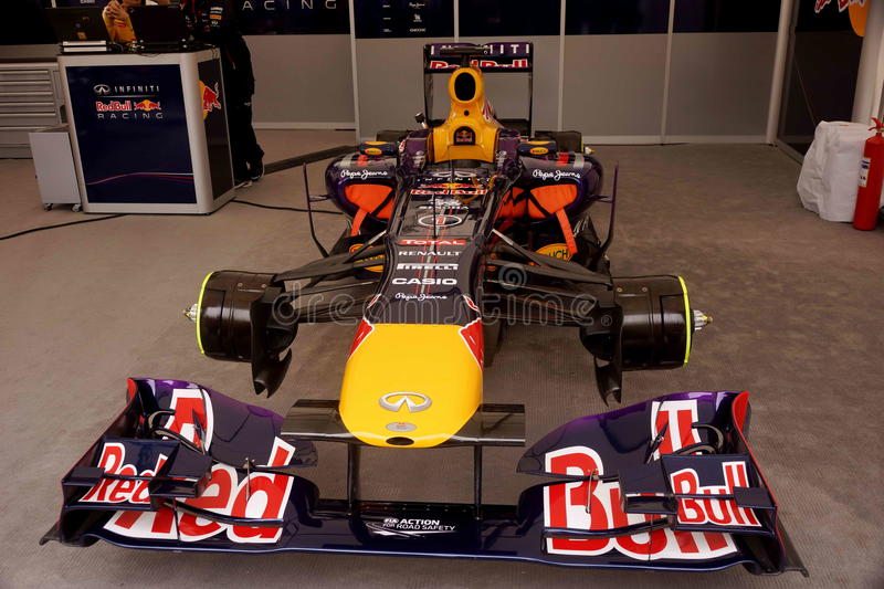 Formula one car. Redbull team Formula One car without pilot royalty free stock images
