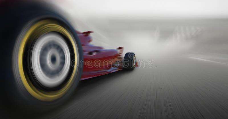 Formula one car speeding. Close up with formula one car royalty free stock image