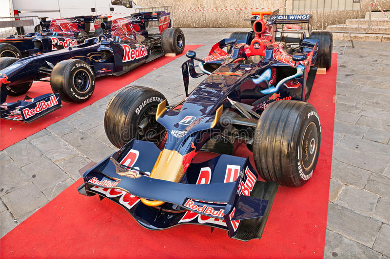 Formula One car Toro Rosso winner Vettel in the Italian Grand Pr. The Formula One racing car Toro Rosso STR3, It was driven by S. Vettel to victory in the stock photography