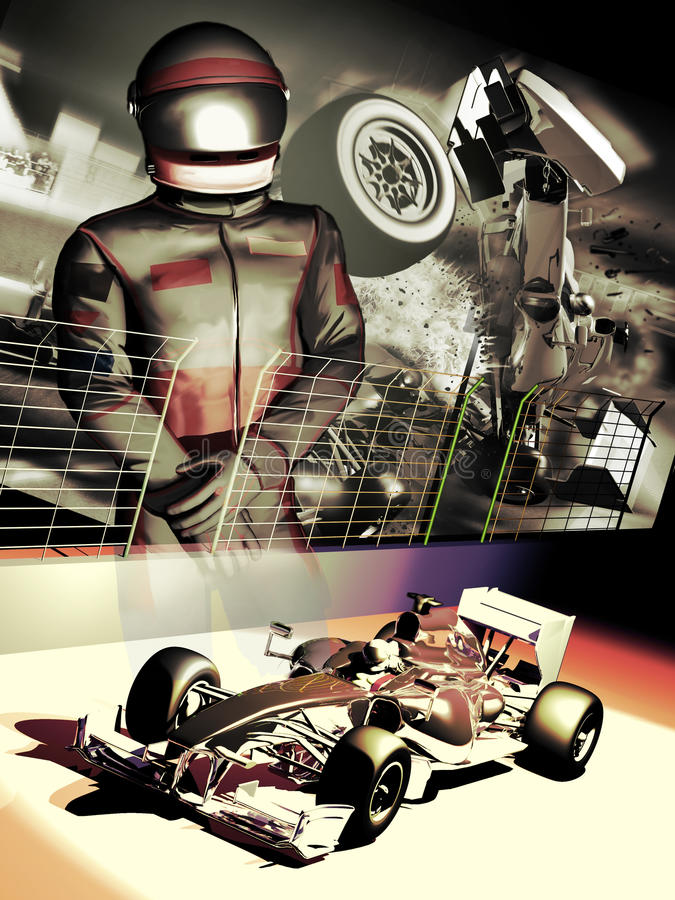 Formula one driver. Poster presentation of a formula one driver, his car, and an dreadful accident in the background, as a reminder of a crucial moment in his stock illustration