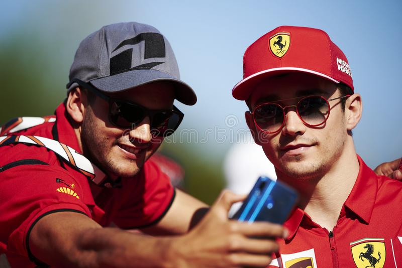 Formula One Spain Grand Prix. 12th May 2019, Circuit de Barcelona-Catalunya, Barcelona, Spain; Formula One Grand Prix of Spain, race day; Charles Leclerc of the royalty free stock photos