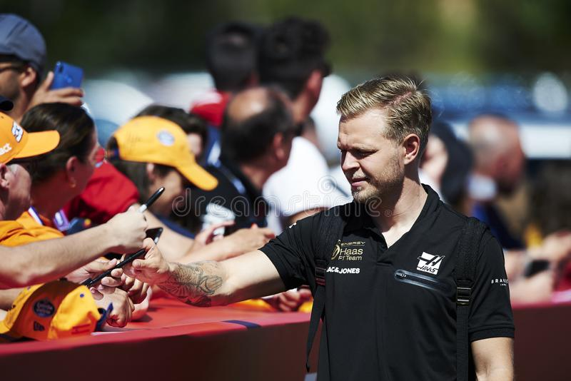 Formula One Spain Grand Prix. 12th May 2019, Circuit de Barcelona-Catalunya, Barcelona, Spain; Formula One Grand Prix of Spain, race day; Kevin Magnussen of the stock photos